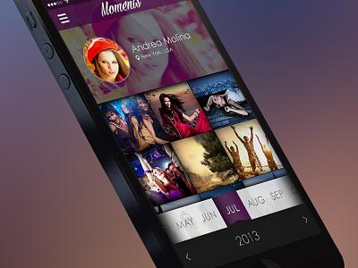 Moments App moments app iphone ux ui ui design design mobile ilya boruhov ibs graphic
