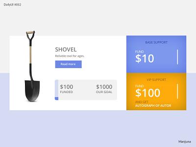 Daily UI #032 - crowdfunding crowd crowd funding fund raising funding support shovel flat ux design ui web e-commerce shop e-commerce buy money crowdfund crowdfunding daily ui 032 dailyui daily ui