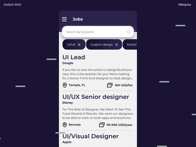 Daily UI #050 - Jobs listing