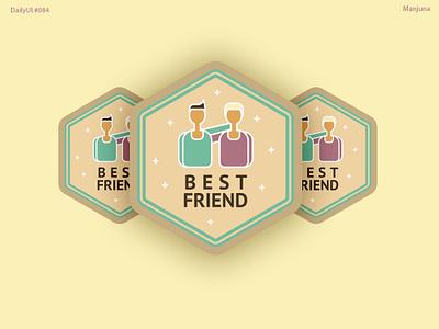 Daily UI #084 - badge interface web ui illustration flat achievement prize win buddy people conversation social friendship friend badgedesign badge logo badge design badge dailyui daily ui