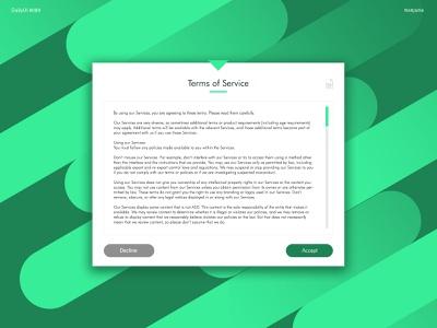 Daily UI #089 - Terms of Service ui web documentary document pdf window flat modern green futura typography text form use license terms of use terms terms of service dailyui daily ui