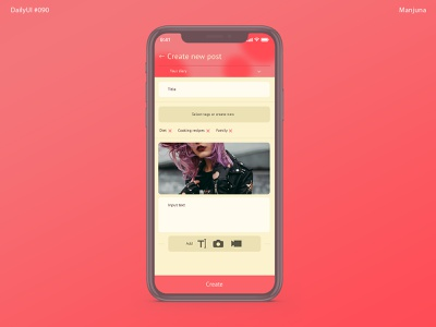 Daily UI #090 - Create new design ux daily ui application ui blog app text glamour pink female woman girlish mobile app design mobile app article diary blog new post create new ui dailyui