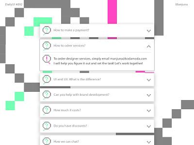 Daily UI #092 FAQ pixel pixelart design ux web ui help help center info card info flat qa quest answers answer question interface daily-ui daily ui faq
