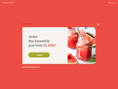 Daily UI #098 - Advertisement design ux pink interface ui flat food website food app ui drink cocktail cocktail bar smoothie banner ad banner advertise ad advertisement daily ui 098 daily ui daily-ui