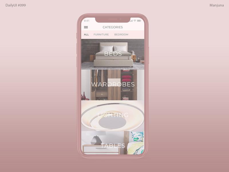 Daily UI #099 - Categories table lighting wardrobe bed clean elegant woman pink bedroom furniture mobile design mobile app app concept app designer app design e-commerce shop e-commerce app daily ui 099 daily ui daily-ui