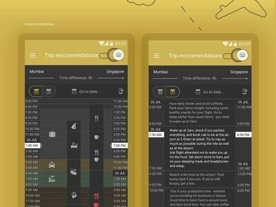 Trip recommendation screen flat illustration interface ux design uiux user interface route planes flight booking app flight app travel app mobile app plane flight travel gold ui ux recommendation trip