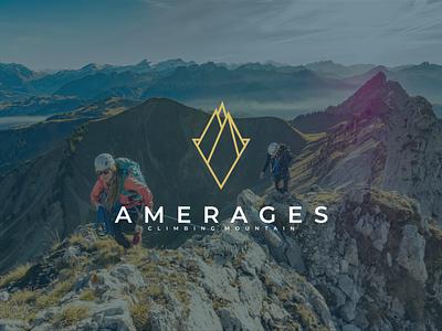 amerages climbing mountain symbol logos letter typograpy brand clambing mountain illustration lettering brandmark vector logo icon design branding