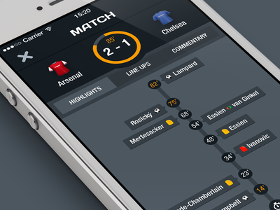 Live match ios flat mobile ui soccer football game match results score timeline ftbpro