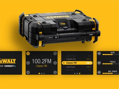 DeWalt Radio Connect Device yellow radio music dewalt flat iot device physical ui ux