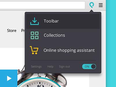 Shopicks Chrome extension flat icons menu shop ux ui hd vimeo extension chrome video