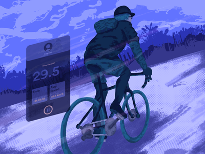 Midnight Cycling outdoor activity touring drawing people navigation interface illustration bicycle bike cycling concept landscape characters the app