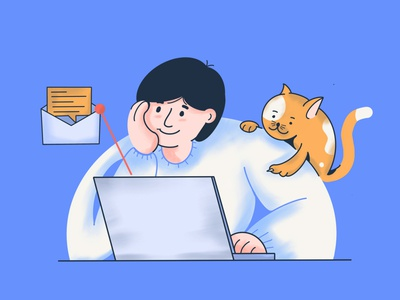 Every Morning mobile laptop envelope message email notifacation illustration character man human cat