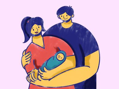 Family design art illustration illustrator hug baby dad mom mother father character human family