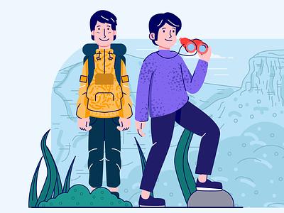 Character Exploration pattern illustrator human forest mountain travel outline flat art vector character illustration
