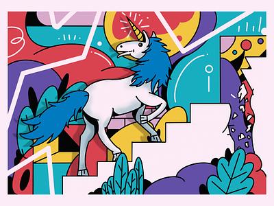 Unicorn steps bricks circle stairs drawing design graphic procreate magical outline shape plant illustrator illustration pattern unicorn