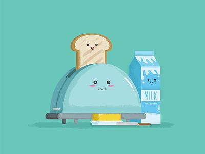 The Perfect Breakfast  toast break fast cute bread milk food icon avatars character art vector illustration