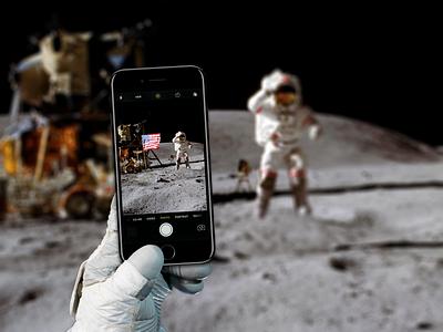 iPhone on the moon - Mockup Freebie iphone7 moon space freebie free mockup mockup holding hand mockup