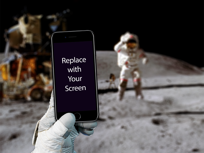 iPhone on the moon - Mockup Freebie iphone7 moon space freebie free mockup mockup holding hand mockup