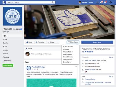 Facebook Filter Posts Feature facebook pages facebook design news feed web design social media feature posts filter facebook