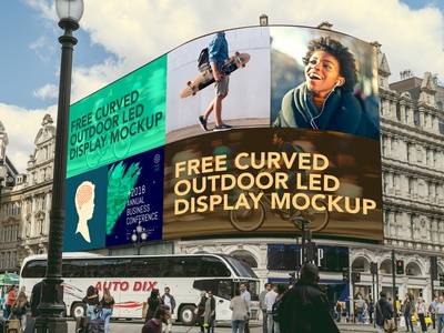 Free Curved Outdoor Led Display Mockup