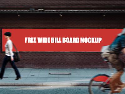 Free Wide Bill Board Mockup free billboard banner free mockup freebie psd design branding mockup