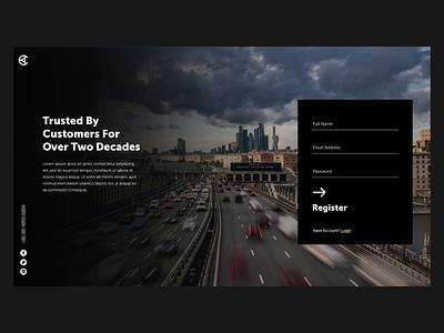 Automobile Website Register timelapse web design web ui landing page form video background design signup register