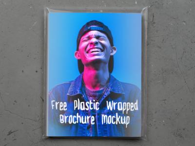 Free Plastic Wrapped Brochure Mockup