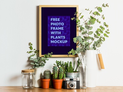 Free Photo Frame with Plants Mockup wall frame plants photo frame free psd free mockup freebie branding mockup design