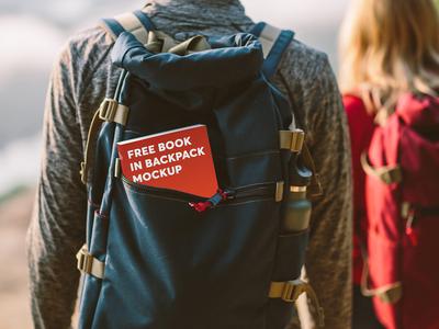 Free Book In Backpack Mockup