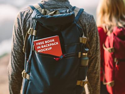 Free Book In Backpack Mockup travel backpack book book cover free free mockup freebie psd branding mockup design