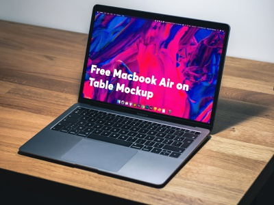 Free MacBook Air on Table Mockup ui table macbook air free free mockup freebie psd branding mockup design