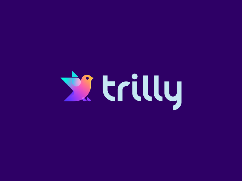 trilly modern gradient technology trill birds type bold symbol geometric concept logo
