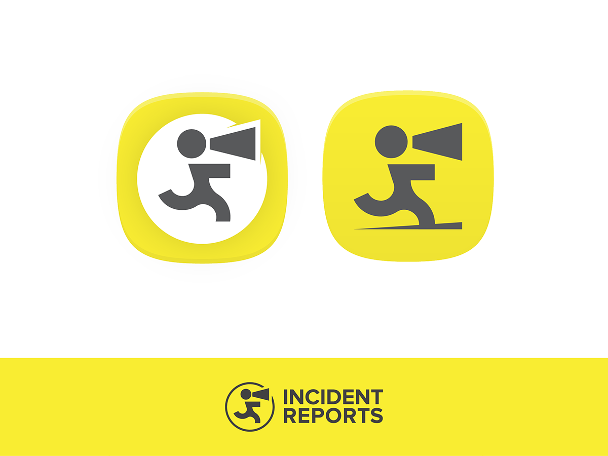 Incident Reports exclamation mark loudspeaker report incident yellow black app icon icon logo