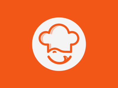 Chef icon round tongue smile chef hat chef cooker club food orange symbol lines simple logo