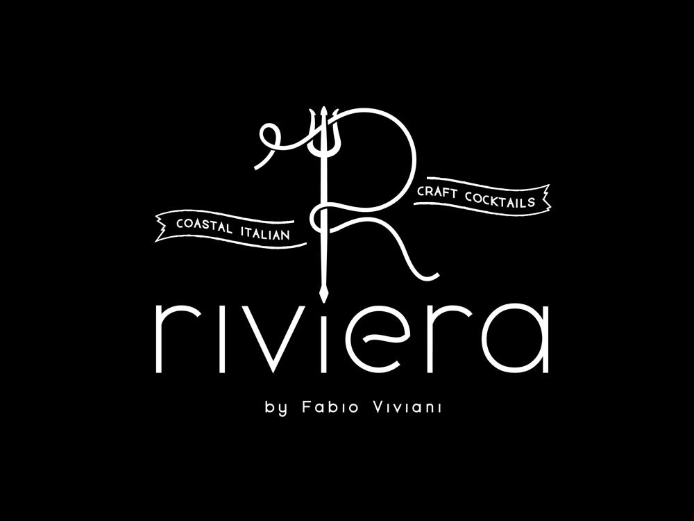Riviera - logo thin lines black and white italian food italian restaurant italian chef food restaurant riviera neptune r letter pasta spaghetti trident simple letter logo