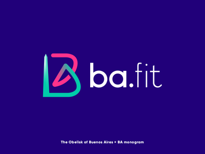 ba.fit buenos aires obelisk fitness logo sports logo monogram letter lines bold geometric simple logo