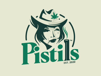 Pistils face logo food marijuana cannabis western emblem logo green logo cowgirl restaurant logo bar logo illustration logo
