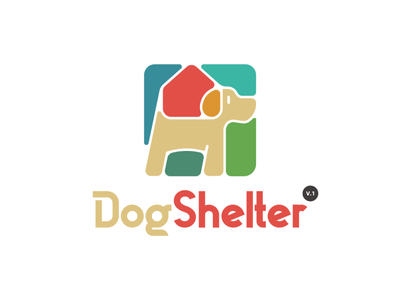 Dog Shelter v.1 logo for sale shelter logo house logo pet logo dog logo colorful bold symbol geometric logo