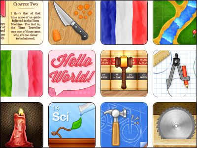 Destiny - Library Management System Icons book knife carrot flag language gavel law books compass ruler pencil candle plant test tube hammer nails blueprint sawblade