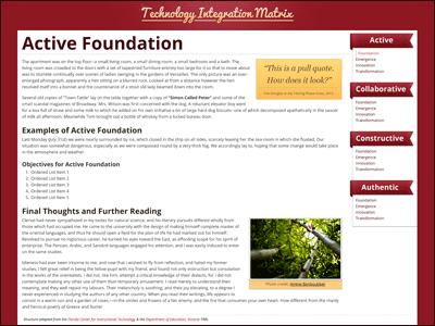 Technology Integration Matrix Sample Page red web web design css3 html5 open sans tim yellow