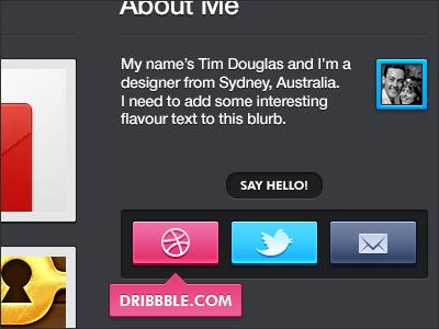 About Me - Portfolio Redesign gray grey dribbble twitter email portfolio sidebar