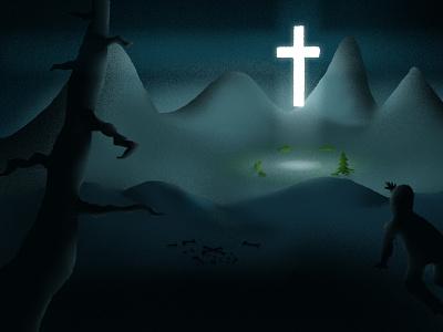 The Cross Brings Life shadow lighting cross illustration brush life jesus