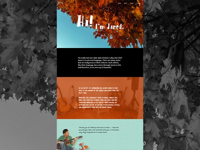 Jared Bracci About - 3rd Iteration layout design color orange typography nature about page