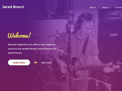 Jared Bracci Home Revisit yellow pink purple wordpress homepage musician gradient