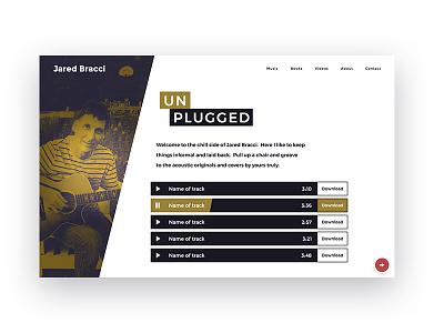 Jared Bracci Unplugged black white gold web design website split diagonal stream download play music musician