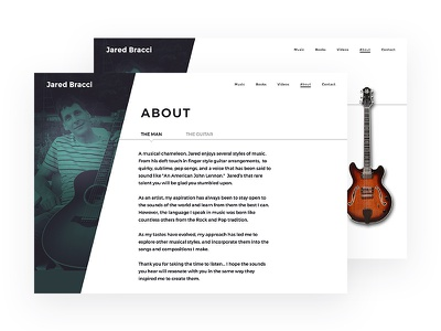Jared Bracci About clean asymmetrical white black green guitar musician angles website