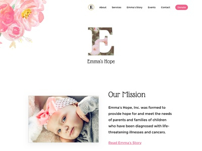 Emma's Hope e watercolor flowers floral white pink clean website charity