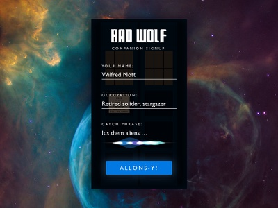 Daily UI 001 - Sign Up tardis allons-y ui space bad wolf doctor who sign up daily ui