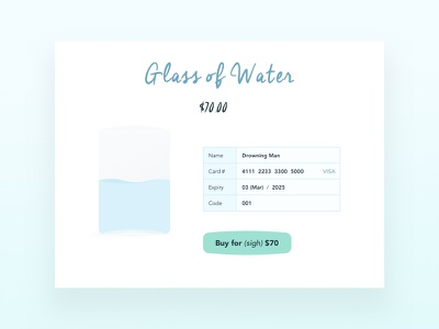 Daily UI #002 - Credit Card Checkout illustration glass ui daily water checkout credit card checkout daily ui