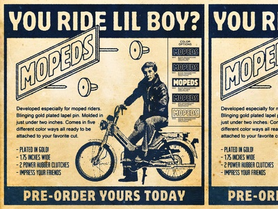 Pin Preorder Mopeds! ad moped pin lapel